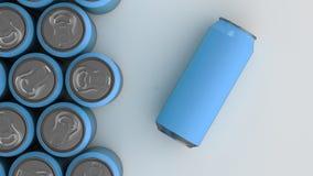 Latas de soda azules grandes en el fondo blanco Fotografía de archivo
