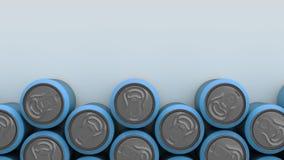 Latas de soda azules grandes en el fondo blanco Foto de archivo libre de regalías