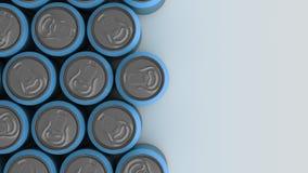 Latas de soda azules grandes en el fondo blanco Fotos de archivo libres de regalías