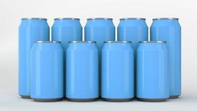 Latas de soda azules que se colocan en dos raws en el fondo blanco Fotografía de archivo
