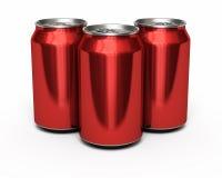 Latas del rojo de la bebida Imagenes de archivo