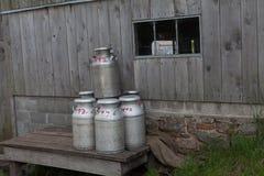Latas do leite Imagens de Stock
