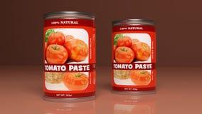 Latas metálicas da pasta de tomate ilustração 3D Fotografia de Stock
