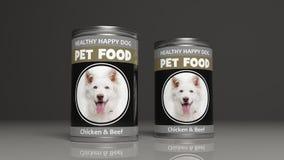 Latas metálicas do alimento para cães ilustração 3D Foto de Stock Royalty Free