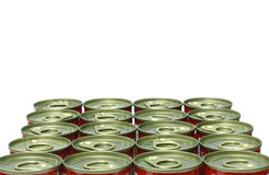 Latas no fundo branco Foto de Stock Royalty Free