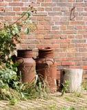 Latas oxidadas viejas de la leche Foto de archivo libre de regalías