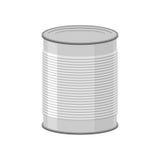 Latas para la comida enlatada en el fondo blanco Illustratio de la lata Fotos de archivo