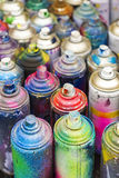 Latas usadas da pintura à pistola Foto de Stock
