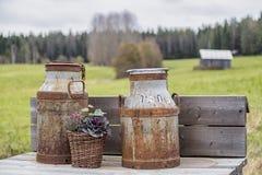 Latas viejas de la leche Fotos de archivo libres de regalías