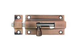 Latch. A brass latch. Clipping path included. No shadows. Perfect to place on doors to lock them Royalty Free Stock Image