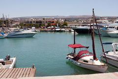 LATCHI, CYPRUS/GREECE - JULY 23 : Assortment of boats in the har Stock Image