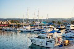 LATCHI - MAY 19 : Yachts in harbor in harbour on May 19, 2015 in Latchi village, Cyprus Stock Photo