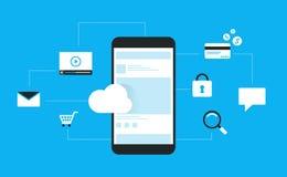 Latdesignen för mobil applikation förbinder på molnet och användamobilen på socialt nätverk direktanslutet stock illustrationer