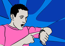 Late. Cartoon of a man consulting his watch with a surprised look on his face Royalty Free Stock Image