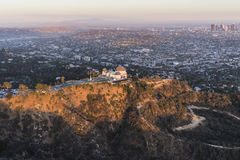Late Afternoon Aerial of Griffith Park and Los Angeles Stock Images