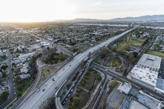 Late Afternoon Aerial of Hollywood 170 Freeway at Victory Bl Stock Images