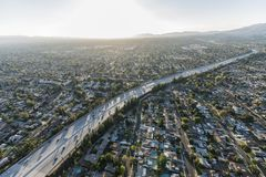 Late afternoon aerial Route 118 freeway in Los Angeles royalty free stock image