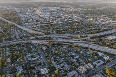 Late Afternoon Aerial of the Ventura and Hollywood Freeways Inte Stock Photo