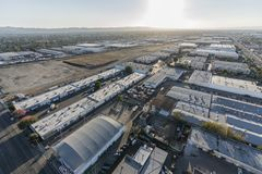 Aerial view of industrial buildings. Late afternoon aerial view of industrial buildings near Burbank airport in Southern California royalty free stock images