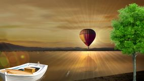 Late afternoon and a beautiful sunset. In the late afternoon a balloon goes flying and crosses the canal. A boat is moored next to a tree and beside it a stock footage