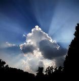 Late Afternoon, Clouds And Sunburst Royalty Free Stock Photography