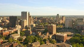 Late afternoon drone footage of Providence, Rhode Island,. Late afternoon drone footage of Providence, Rhode Island with uplift camera motion from Prospect stock footage