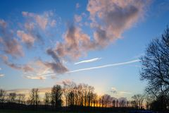 Late Afternoon in East Flanders. Sunset Along the Dender River in East Flanders, Belgium Stock Photo