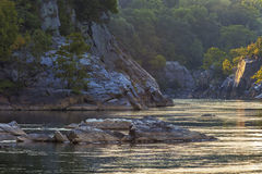 Late Afternoon Light in the Potomac Gorge. Over thousands of years, the powerful Potomac River carved out the Potomac Gorge, revealing the complex geology which royalty free stock photography