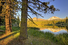 Late afternoon, Manzanita Lake and Lassen Peak, Lassen Volcanic National Park Royalty Free Stock Photos