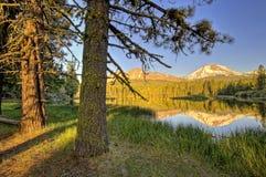 Late afternoon, Manzanita Lake and Lassen Peak, Lassen Volcanic National Park Royalty Free Stock Photos
