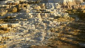 Late afternoon panning shot of terraces at mammoth hot springs