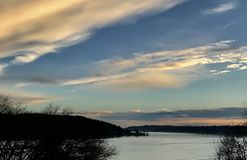 Late Afternoon Sky. Late afternoon view of Lake Washington stock photos