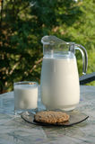 Late Afternoon Snack. A cookie and a glass of milk on the terrace Stock Photos