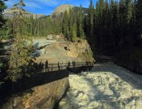 Natural Bridge over Kicking Horse River, Yoho National Park, British Columbia, Canada. The late afternoon sun casts the shadow of the pedestrian bridge over the royalty free stock images