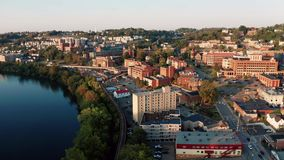 Late Afternoon Sunshine Hits Buildings and Architecture in Morgantown WV. Morgantown West Virginia is situated on a steep hill above the Monongahela River stock footage