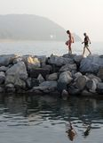 Late afternoon swim. Two young women return from an afternoon swim in Lake Michigan Stock Images