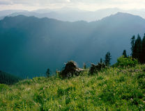 Late afternoon in the Tatoosh Wilderness, Gifford Pinchot National Forest, Cascade Range, Washington. Perfect conditions for a long hike in the spectacular South Stock Image