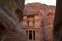 Late afternoon at the Treasury Al-Khazneh at the ancient site of Petra in Jordan. Royalty Free Stock Photos