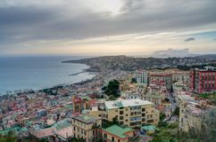 Late afternoon view of Naples seaside and hills Stock Photography