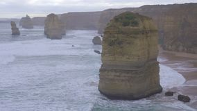 Late afternoon view of one of the Twelve Apostles. Australia stock footage
