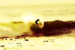 Late afternoon wave. Surfing off Cape Town Stock Photography