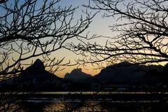 Late Aftewrnoon view of Rodrigo de Freitas Lagoon, Rio de Janeiro, Brazil royalty free stock photography