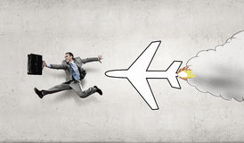 Late on airplane Stock Image