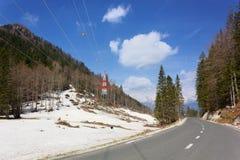 Late April Snow at Soriška Planina. Snow in late April near Soriška Planina ski resort, in Gorenjska region, Slovenia Royalty Free Stock Photography