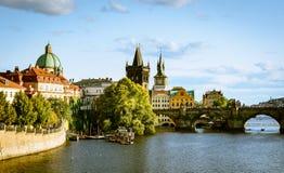 Prague, the Western bank and the Charles Bridge Stock Photos