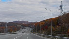 Late autumn. Highway outside the city. Transport interchange. stock photos