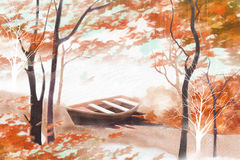 Late autumn landscape on the river and vessels - Graphic painting texture Stock Photo