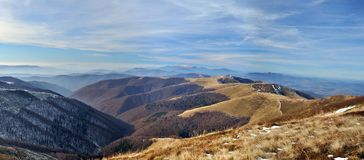 Late autumn mountain meadows panorama Royalty Free Stock Images