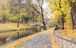 Late autumn in old public park, Riga, Latvia Royalty Free Stock Images