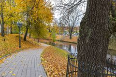 Late autumn in old public park, Riga, Latvia Stock Photo